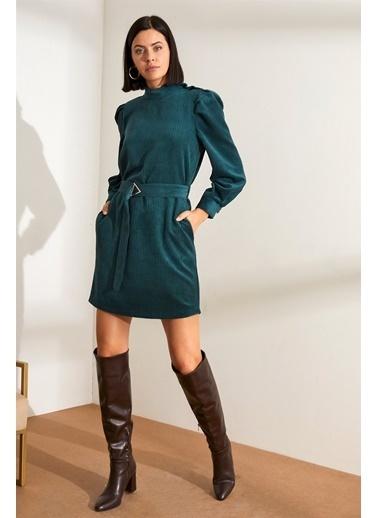 Setre   Dik Yaka Kuşaklı Fitilli Kadife Elbise Mavi